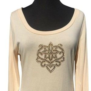 Rhinestone Crown Crest Vanilla Cream Top New
